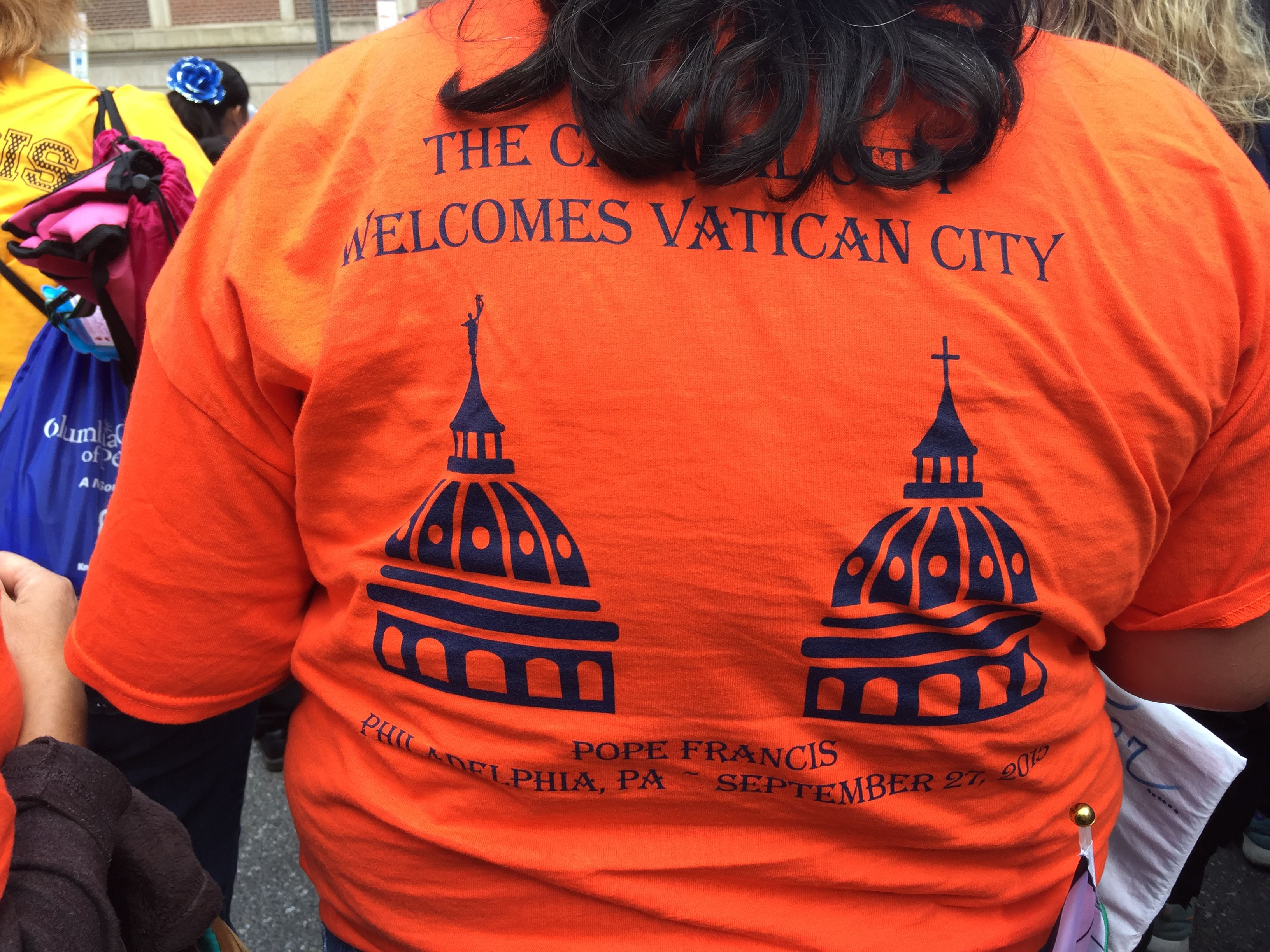 T-shirt from the Archdiocese of Harrisburg that welcomes the Vatican to the Capitol City.