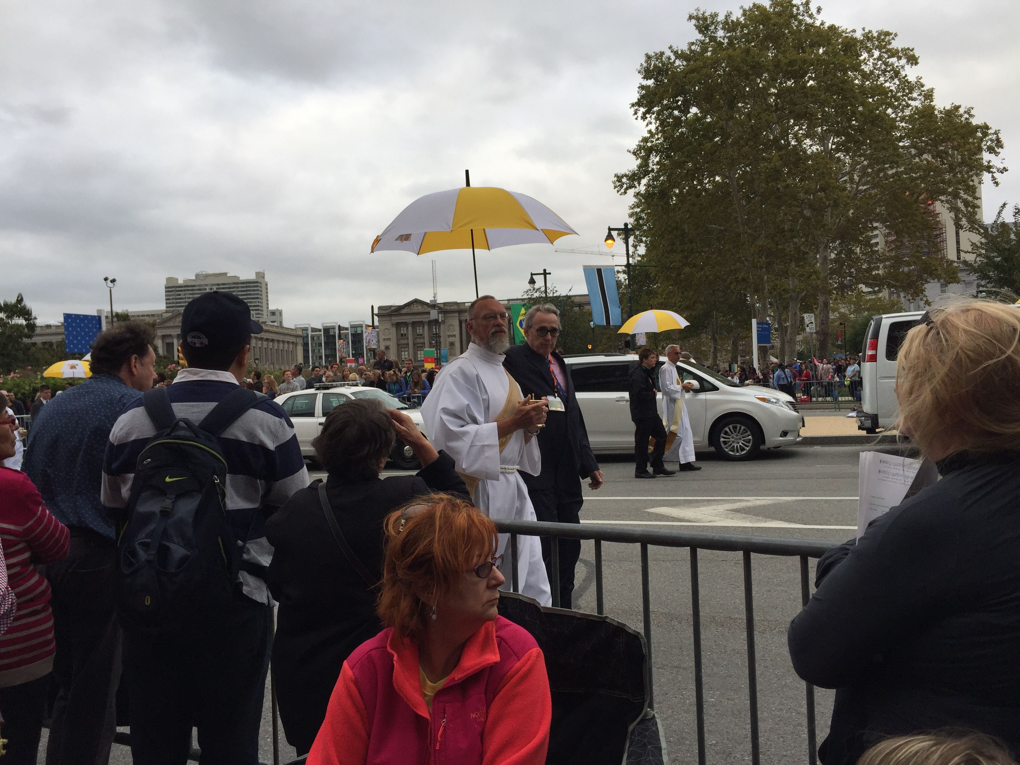 Army of priests come out to distribute communion during Papal Mass in Philly.