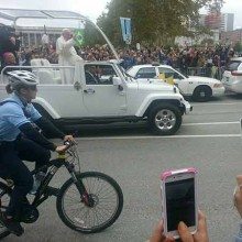 Pope Francis driving by in Philly.